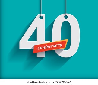 40 Anniversary numbers with ribbon. Flat origami style with long shadow. Vector illustration