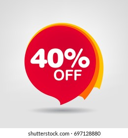 40% Big Sale Discount Banner. Discount offer price tag.