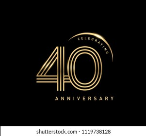 40 celebrating anniversary logo with golden ring isolated on black background, vector design for greeting card and invitation card.