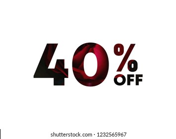 40% of the discount, promotion sale offer.