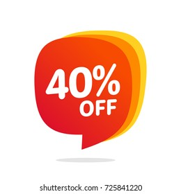 40 discount, Sales Vector badges for Labels, , Stickers, Banners, Tags, Web Stickers, New offer. Discount origami sign