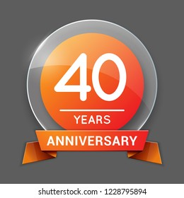 40 / Forty Years Anniversary Logo with Glass Emblem Isolated. 40th / Fortieth Celebration. Editable Vector Illustration.