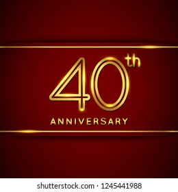 40 / Forty Years Anniversary Logo with Shiny Golden Number on Red Background Isolated. 40th / Fortieth Celebration Event. Can Use for Poster, Invitation and Greeting Card. Easily Editable Vector.