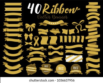 40 Gold Ribbon vector illustration with flat design. Included the graphic element as retro badge, guarantee label, sale tag, discount, sticker, template and more.