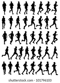 40 high quality male marathon runners silhouettes
