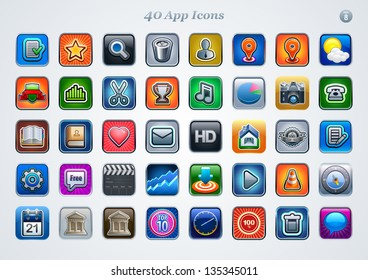 40 icons for web or mobile applications. vector. eps 8.