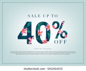 40% lettering handmade with leaves and flower tropical decoration. For Sale discount, Web Promotion, Poster Banner Background, Sign and symbol. Luxury unique style, Green color, Vector illustration