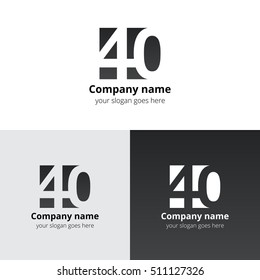40 logo icon flat and vector design template. Monogram years numbers four and zero. Logotype forty with grey-black gradient. Creative vision concept logo, elements, sign, symbol for card,
