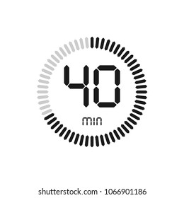 The 40 minutes, stopwatch vector icon, digital timer. clock and watch, timer, countdown symbol.