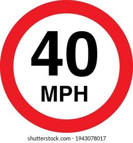 40 mph 2 sign board