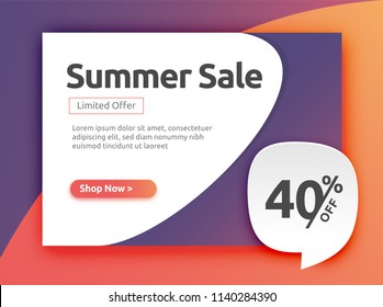 40% off, Discount Banner, Stickers, label, Tags, Web Stickers, New offer. Summer sales banner in Colorful background