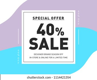 40% OFF Discount Special Offer Campaign. Creative Design Template for Newsletter, Banner, Coupon, Flyer. Promo Discount Holiday 40% Season Sale Limited Offer.
