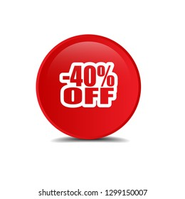 -40% off and glossy button