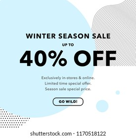 40% OFF Price Discount. Winter Season Sale. Promo banner design template. Trendy background. Flyer, poster, card, label, banner design. Vector illustration EPS10.