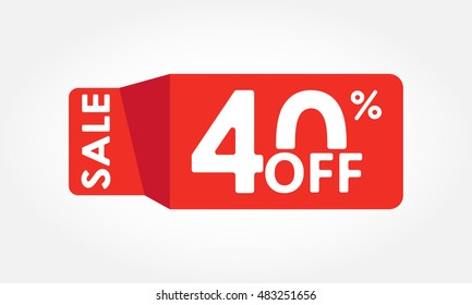 40% off. Sale and discount tag with 40 percent price off icon. Vector illustration.