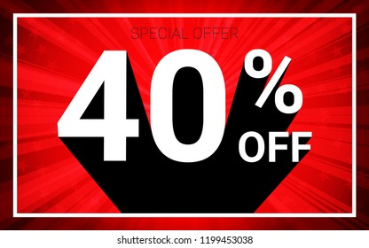 40% OFF Sale. White color 3D text and black shadow on red burst background design. Discount special offer promo advertising concept vector illustration.
