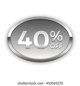 40% off vector badge, silver