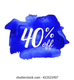 40% OFF vector text, logo, card, poster, word, written on painted blue background