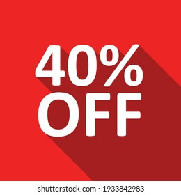 40% off white text on a red background