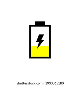40 percent battery with yellow mark, vector