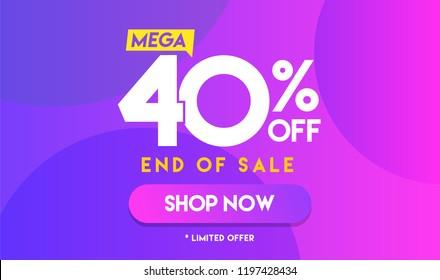 40 percent Mega Discount sale Colorful minimal gradient blue pink vector illustration banner