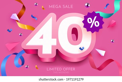 40 percent Off. Discount creative composition. 3d mega sale 40% symbol with decorative objects. Sale banner and poster. Vector illustration.