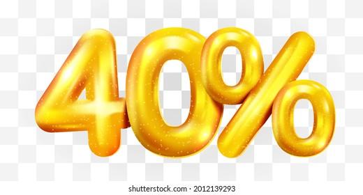 40 percent Off. Discount creative composition of golden balloons. 3d mega sale or forty percent bonus symbol on transparent background. Sale banner and poster. Vector illustration.