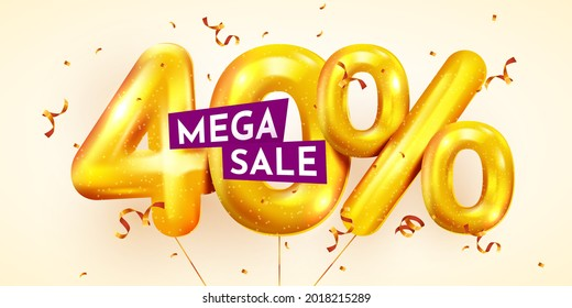 40 percent Off. Discount creative composition of golden balloons. 3d 40% mega sale or forty percent bonus symbol with confetti. Sale banner and poster. Vector illustration.