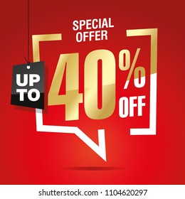 40 percent off sale isolated gold red sticker icon