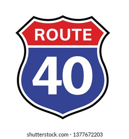 40 route sign icon. Vector road 40 highway interstate american freeway us california route symbol.