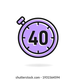 40 second timer clock icon flat design isolated on white background. Vector illustration