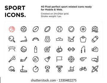 40 Sport Icons, pixel perfect, created on 24x24px grid, ready for all mobile platforms, web and print, easy to change color or size