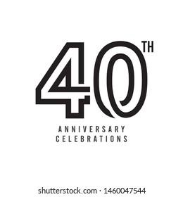 40 Th Anniversary Celebration Vector Template Design Illustration