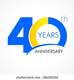 40 th anniversary numbers. 40s years old logotype. Simple congrats. Isolated abstract graphic web design template. Creative digits. Up to 40%, -40% percent off discount. Modern congratulation concept.