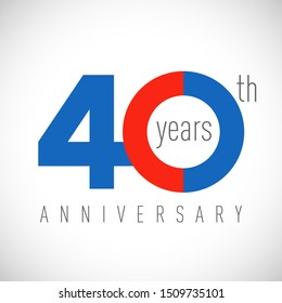 40 th anniversary numbers. 40 years old congrats, colorful logotype. Congratulation idea. Isolated abstract graphic design template. Coloured digits. Up to 40% off discount. Anniversary logo concept.