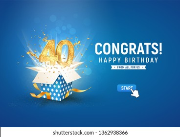 40 th years anniversary banner with open burst gift box. Template fortieth birthday celebration and abstract text on blue background vector illustration