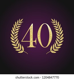 40 th years old logotype. Isolated elegant abstract nominee graphic seal of 40%. Congratulating celebrating decorating card design template Round shape luxurious digits, up to -40 % percent off sign
