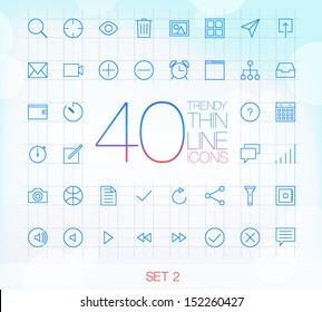 40 Trendy Thin Line Icons for web and mobile Set 2