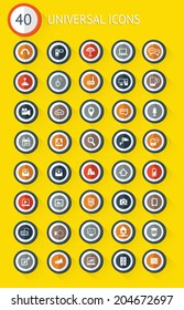 40 Universal website flat icon set on yellow background,vector