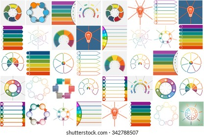 40 vector templates, Infographics cyclic processes, text area for six and seven  positions possible to use for work flow, banner, diagram, web design