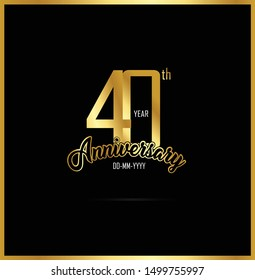 40 year anniversary celebration logotype. anniversary logo with golden color isolated on black background, vector design for celebration, invitation card, and greeting card - Vector