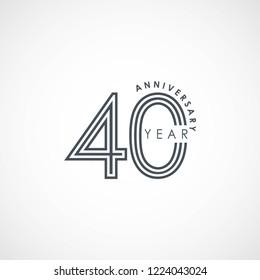 40 Year Anniversary Vector Template Design Illustration