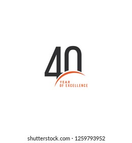 40 Year of Excellence Vector Template Design Illustration
