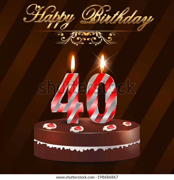 Fine 40 Year Happy Birthday Card Cake Stock Vector Royalty Free 198686867 Funny Birthday Cards Online Bapapcheapnameinfo