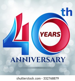 40 years anniversary with bokeh lights in background.-vector illustration