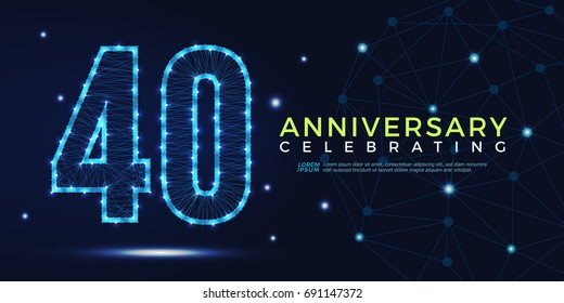 40 years anniversary celebrating numbers vector abstract polygonal silhouette. 40th anniversary concept. technology numbers vector illustration