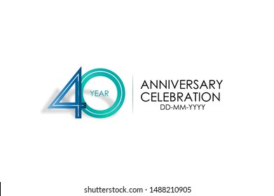 40 years anniversary celebration Blue and Tosca Colors Design logotype. anniversary logo isolated on White background, vector Horizontal number design for celebration, invitation card -vector