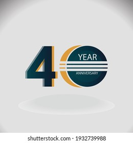 40 Years Anniversary Celebration Blue Color Vector Template Design Illustration