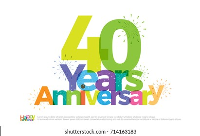 40 years anniversary celebration colorful logo with fireworks on white background. 40th anniversary logotype template design for banner, poster, card vector illustrator