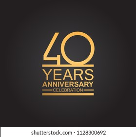 40 years anniversary celebration design with thin number shape golden color for special celebration event